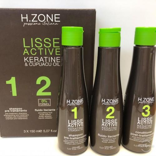 LISSAGE BRESILIEN H ZONE LISSE ACTIVE à la kératine  - 450 ml  ( 3 x 150 ml )
